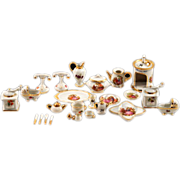 Exquisite 25 Piece Set of Limoges Fragonard Transferware Porcelain with Gold Gilding Miniatures