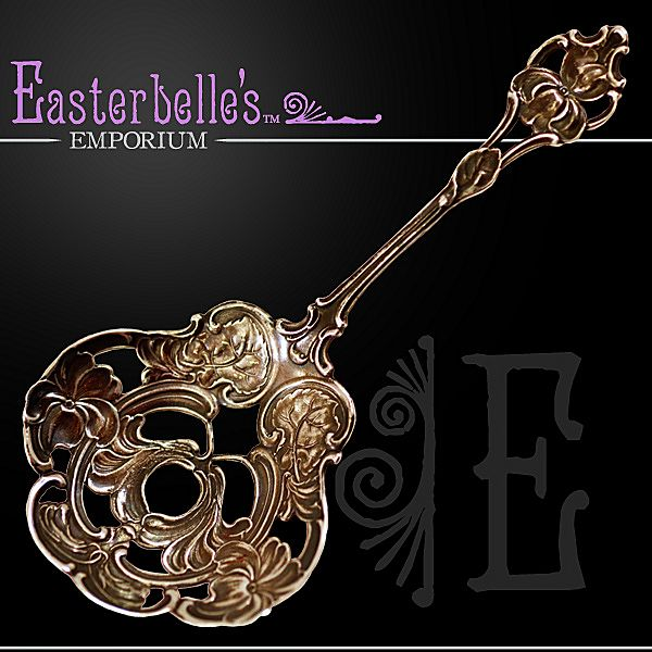 """RESERVED - Gorgeous Art Nouveau Wallace & Sons Sterling Silver """"Nut"""" Spoon 22 gms."""