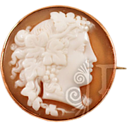 9K Rose Gold Chester Hallmarked Maenad (Bacchante) Cameo