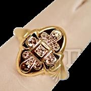 Elegant Vintage 14k Gold  and Diamond Ring