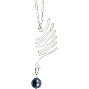 OOAK Susan Davison Sterling Silver Wing with Tahitian Pearl Accent