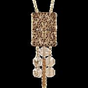 OOAK Davison Vintage Rhinestone Belt Buckle with Chandelier Crystals Necklace