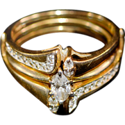 Exquisite Vintage 14k Yellow Gold and Diamond Engagement Solitaire with Ring Guard