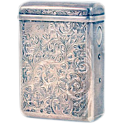 Vintage .950 Sterling Silver Cigarette Case Unusual Push Button Opening