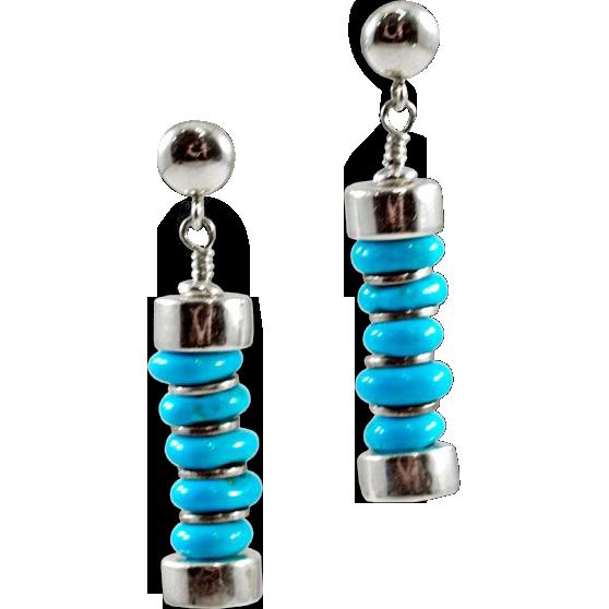 Sleek Sleeping Beauty Turquoise OOAK Davison Earrings