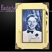 "Vintage Reverse Painted Cream, Gold & Black Art Deco Picture Frame 7"" x 5"""