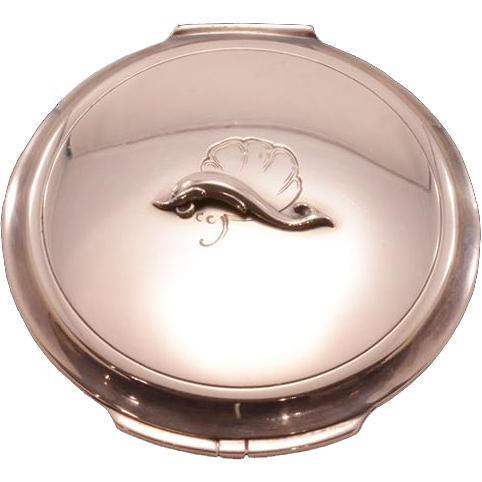 Rare Find Sterling Silver Georg Jensen Compact with Orig Dust Sleeve - 1940s