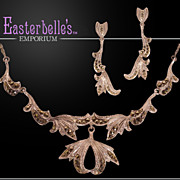 Intricate and Ultra Feminine Vintage Sterling Necklace and Earrings Set with Marcasite