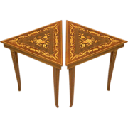 Pair of Gorgeous Vintage Reuge Musical Triangle Tables in Italian Marquetry