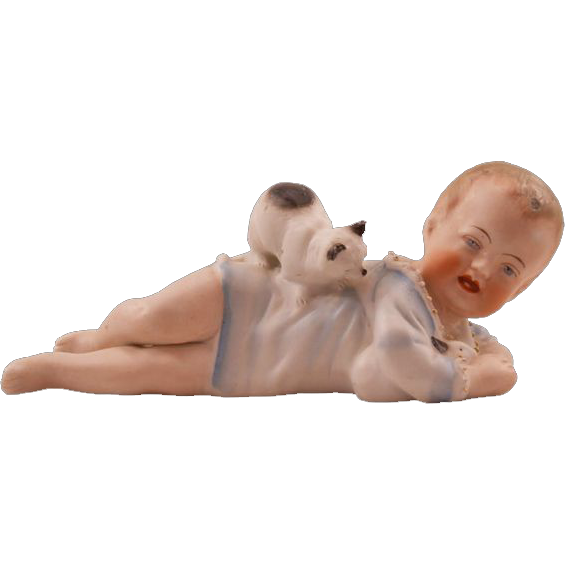 """Darling Antique Porcelain """"Piano Baby"""" With Rabbit and Kitten"""