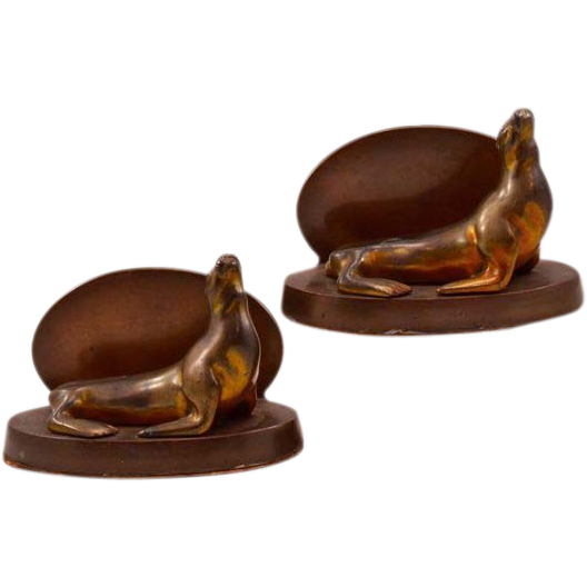 Vintage Bronze-Clad Spelter Seal Bookends