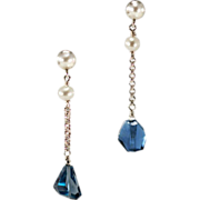Sophisticated London Blue Topaz and Freshwater Pearl Earrings