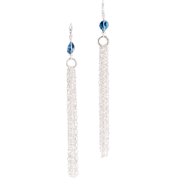 Sexy Shoulder Duster London Blue Topaz and Sterling Silver Earrings