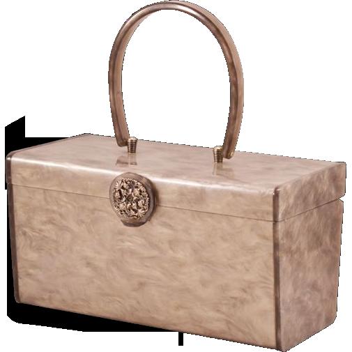 Gorgeous Gray Vintage Wilardy Lucite Box Purse