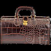 Vintage Crocodile Embossed Dark Brown Leather Doctor's Bag with Original Key