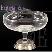 Hand Cut Glass and Sterling Candy Dish