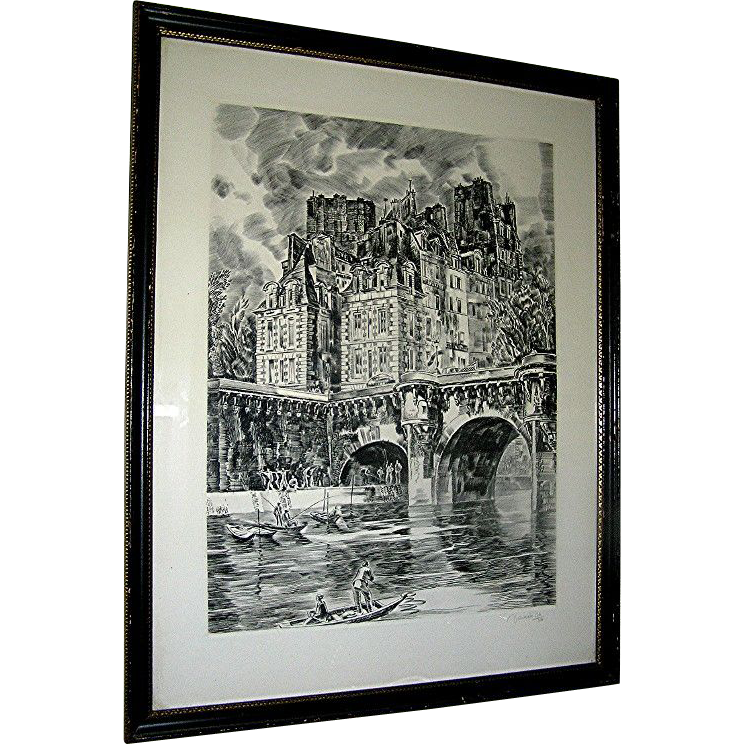 Rare Vintage print, Etching by Albert Decaris, Paris Scene- Great Engraver of the 20th century!