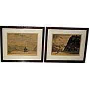 Pair of lithography prints, signed-can not read writing, dated 1922