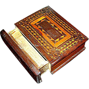 Hand made Folk Art inlay faux book box made in the 19th century