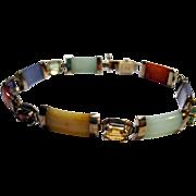 vintage estate Multi-color Jade and Gems Link Bracelet jadeite