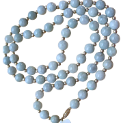 stunning retro Pale Green Jade bead Necklace 14k catch and spacers