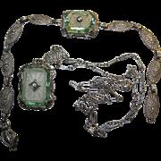 Edwardian Nouveau Deco Sterling Camphor Glass Necklace Bracelet green glass accents