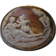 rare early 1800s Georgian Neoclassical Sardonyx Conch Sell carved Cameo Venus & Cupid brooch