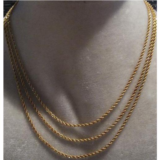 estate 14kt gold Triple strand Rope Necklace