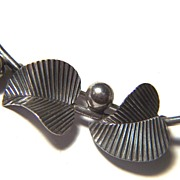 Vintage signed BEAU STERLING Double Leaf & Berry Pin Brooch