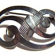 Vintage signed BEAU STERLING Double Swirl Pin Brooch