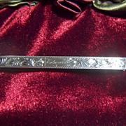 "Vintage Victorian Sterling Silver Money Clip ~ Monogrammed ""Edward"""