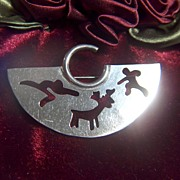 Vintage signed TAXCO Mexico Modernist Cutout Sterling Silver Pin Brooch