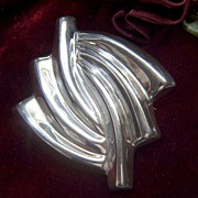 Vintage signed MEXICO Sterling Silver Swirls Pin Brooch
