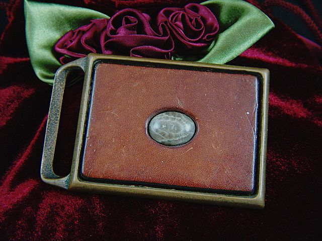 Vintage 1960s Solid Brass Genuine Leather and Genuine Fossil Belt Buckle