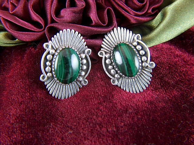 Vintage signed A M Art Deco Style Sterling Silver Malachite Glass Clip Earrings
