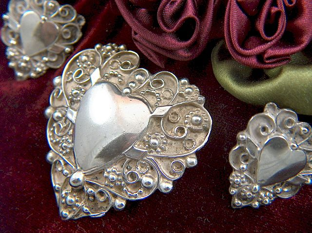 Vintage Lillian Pines Hand Wrought Sterling Silver Heart Brooch and Screw Back Earrings Demi