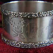 Vintage 1890s signed Wendell Sterling Round Napkin Ring ~ Round Engraved Floral