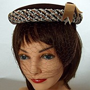 Vintage 1950s Fine Brown Velveteen Hat with Woven Chenille Yarn Trim