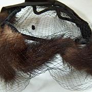 Vintage Mink Velvet Satin and Dotted Swiss Veil Halo Hat