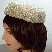 Vintage Foldable Packable Crushable Cream Raffia Crocheted Hat