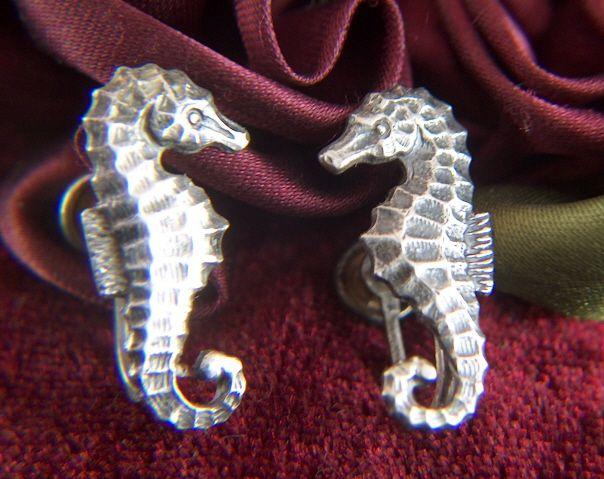 Vintage Sterling Silver Sea Horses Screw Back Earrings