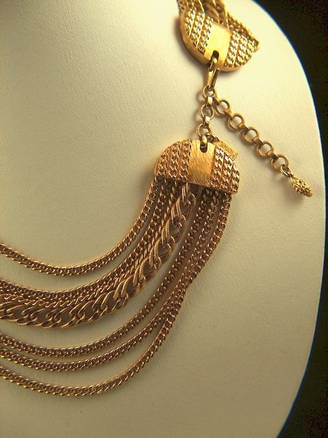 Vintage  and Gorgeous signed Monet 7 Strand Chain Necklace