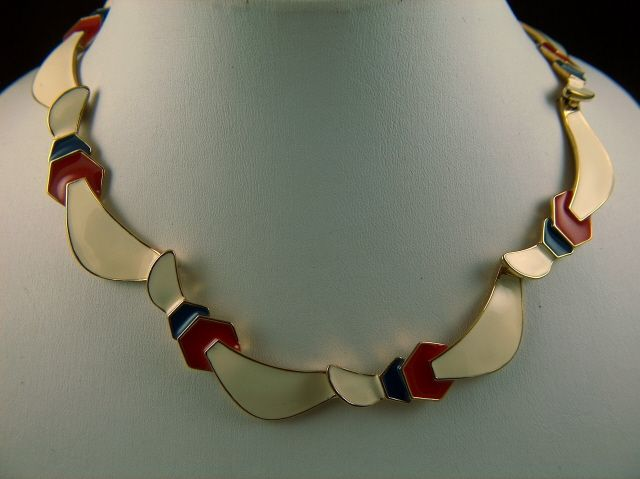 Vintage signed Monet Red Light Cream and Blue Enamel Necklace