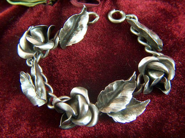 Vintage 1940s Sterling Silver Roses and Leaves Bracelet