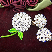 Vintage and Stunning signed WEISS White Enamel and Clear Rhinestone Brooch Pin and Clip Earrings Set