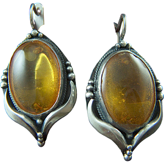 Vintage Artisan Made Sterling Silver and Russian Amber Pierced Earrings