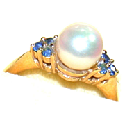 14K Pearl and Topaz Ring