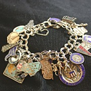 Vintage Sterling 23 Charm USA Bracelet