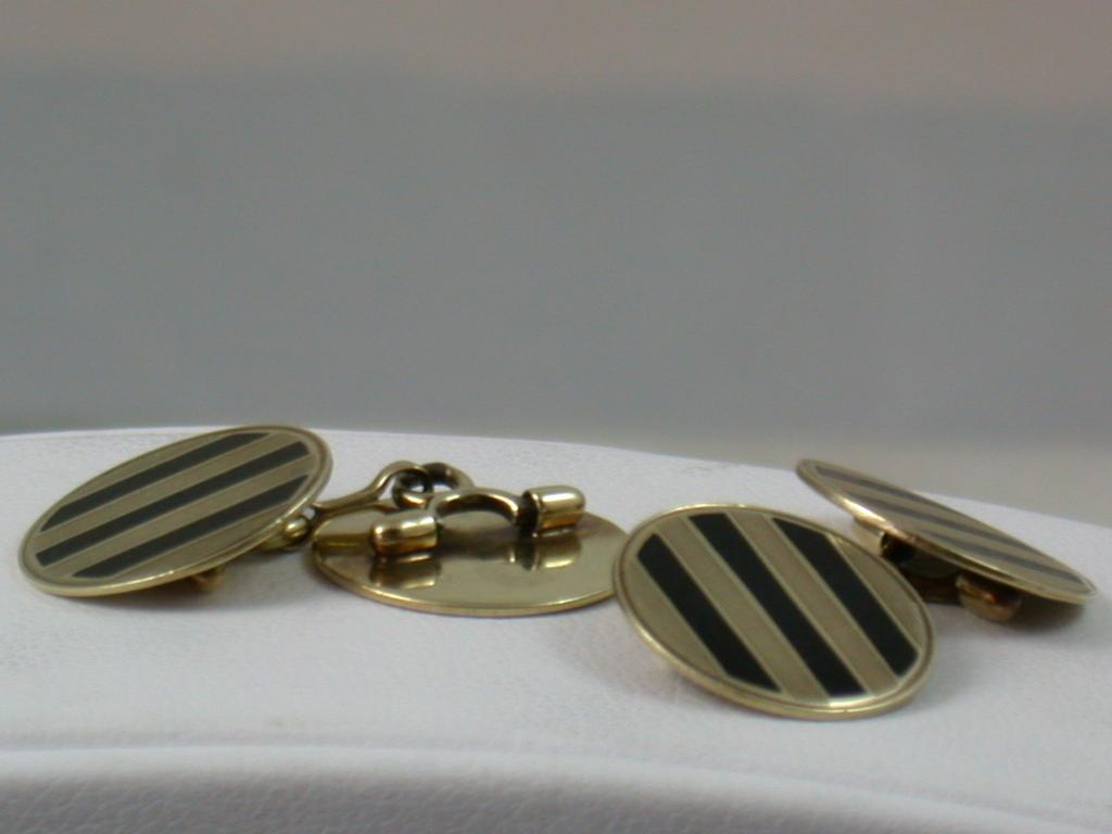 Deco 14K Gold and Onyx Cuff Links