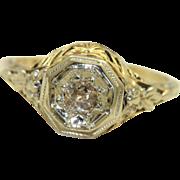 Vintage 14K Gold .35CT Rose Cut Diamond Filigree Ring